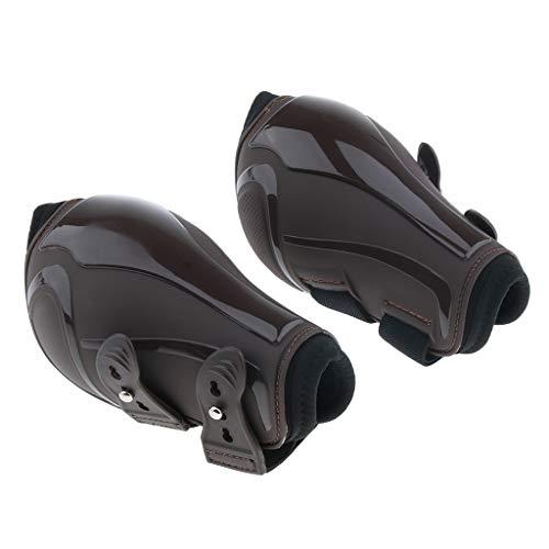 Injoyo 1 Paar Atmungsaktiv Gamaschen Sehnenschoner Pferdegamaschen für vorne und hinten Bein - Braune Rückseite