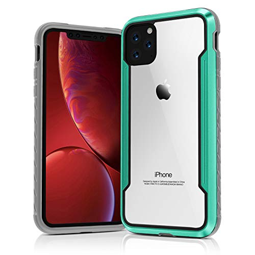 "iPhone 11 Case Double Series Military Grade Drop Protection Hybrid Heavy Duty Extreme Protection Clear Sturdy Metal Bumper Case Support Wireless Charging for iPhone 11 6.1"" Green"