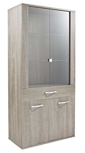 Demeyere Namur Vitrine 1 tiroir/2 Portes vitrées Coloris chêne Prata, Panneau Particule, 85,4x41,7x181 cm