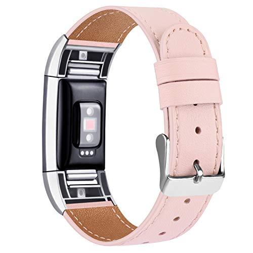 """Tobfit Kompatibel für Fitbit Charge 2 Armband, Klassische Echtleder-Armband-Metallverbinder für Fitbit Charge 2 (Kein Uhr) (06 Rosa, 5.5\"""" - 8.1\"""")"""