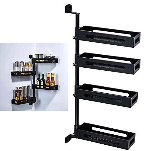 1 soporte de almacenamiento de aluminio negro para cocina, espacio económico, soporte de pared, rotating, especias y estante de esquina condimentos, soporte de almacenamiento.