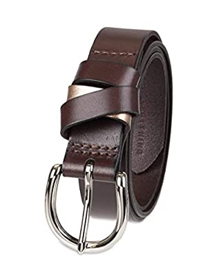 NYDJ Women's 100% Leather Casual Belt, Dark Brown, Extra Large