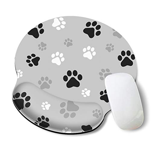 Britimes Ergonomic Mouse Pad with Wrist Support Gray paw Print Cute Non-Slip Rubber Base Mousepad for Home Office Gaming Working Computers Laptop Easy Typing & Pain Relief
