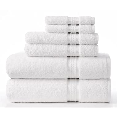 Cotton Craft Ultra Soft 6 Piece Towel Set White, Luxurious 100% Ringspun Cotton, Heavy Weight & Absorbent, Rayon Trim - 2 Oversized Large Bath Towels 30x54, 2 Hand Towels 16x28, 2 Wash Cloths 12x12