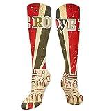 Calcetines de vestir con texto en inglés «I Love Rome con carpa de circo y rayas atrevidas con estampado antiguo