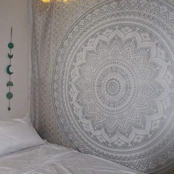 Popular Handicrafts New Launched Kp650 Original Silver Ombre Tapestry Mandala Tapestries Wall Art Hippie Wall Hanging Bohemian Bedspread with Metallic Shine Tapestries 84x54 Inches(215x140cms)