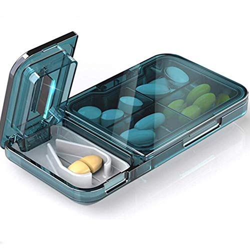 Medicine Tablet Cutter,The Best Pill Splitter for Small Pills,Transparent Slicer Professional Cute Pill Cutters,Pill Cutter and Splitter with Safe Shield for Small or Large Pills (Blue)