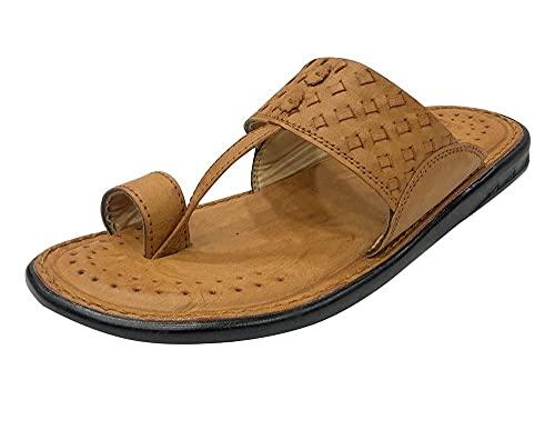 Kolhapuri Stil Sandalen, Hochzeits-Slipper, Slipper, Loafer, indisches Schuhwerk, Herren-Schuhe, Flip-Flops, - hautfarben - Größe: 42 1/3 EU