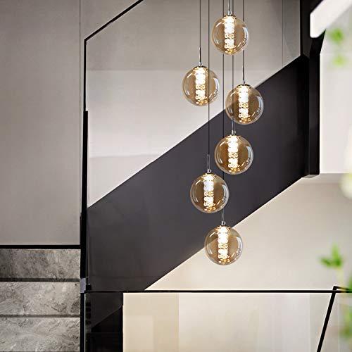 CBJKTX lámpara colgante mesa de comedor lámpara colgante lámpara colgante de altura ajustable vidrio de 6 llamas en color ámbar cocinas lámpara de sala lámpara de dormitorio lámpara de pasillo