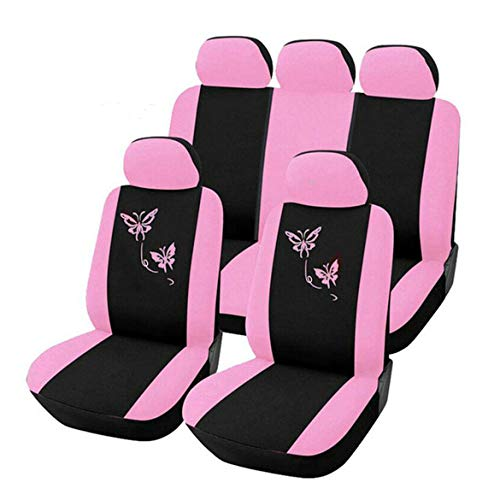 JohnJohnsen Fundas de Asiento de Coche de Estilo de Mariposa Delantero y Trasero Universal Fundas de Asiento de automóvil Rosadas Lindas para automóviles