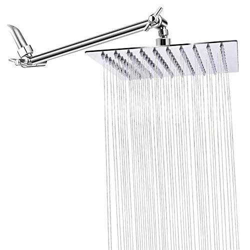 8 Inch Rain Shower Head with 11'' Adjustable Arm, STrighter High Pressure Rainfall Showerhead, Ultra-Thin Design Stainless Steel 304 - Pressure Boosting (Chrome)