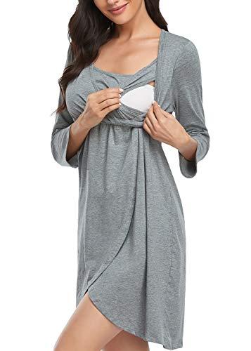 Joweechy Damska sukienka ciążowa, sukienka do karmienia, długość do kolan, letnia sukienka na czas wolny, bez rękawów, koszula nocna, koszula ciążowa z funkcją karmienia piersią