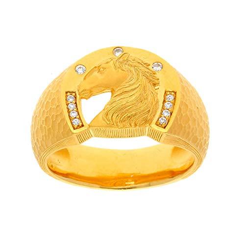 PRIMAGOLD(プリマゴールド) 24K Mens 純金 ダイヤを埋め込んだ馬モチーフ 印台リング 24金 純金 K24YGメンズ 男性用 ゴールド (19)