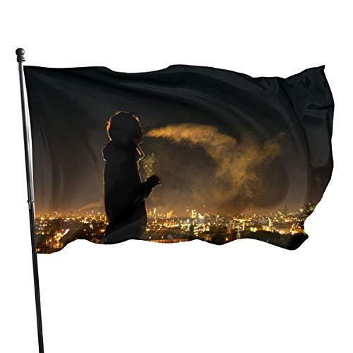 N/A USA Guard Vlag Banner Welkom Vlaggen Bloed Roken Nacht Rook Mannen Mensen Sillhouette Sigaret Yard voor Vakantie Patio Verjaardag Decoratie 3x5 Ft