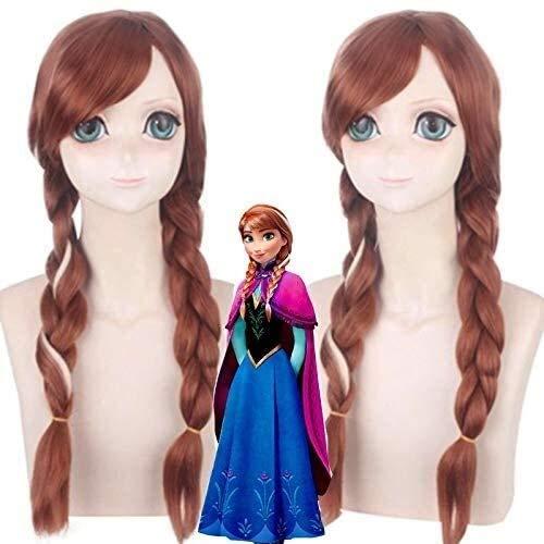 Pelucas de la princesa Anna de la película Olafs aventura Anna peluca Cosplay mezcla marrón larga trenza pelo sintético para fiesta traje peluca anime