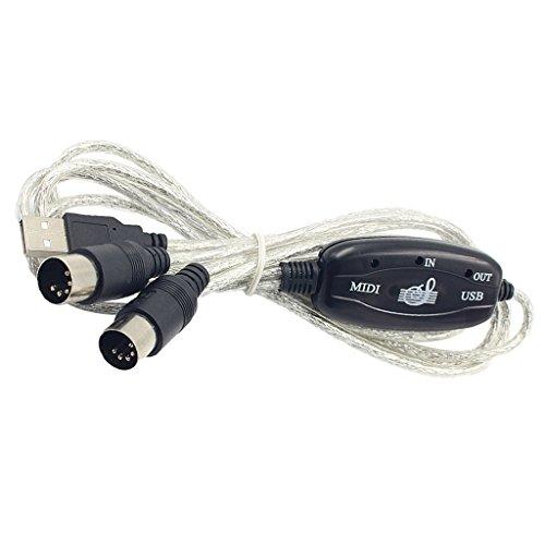 freneci Adaptador de Cable MIDI a USB Portátil de 5 Pines 2m Compatible con Windows XP/Vista IOS