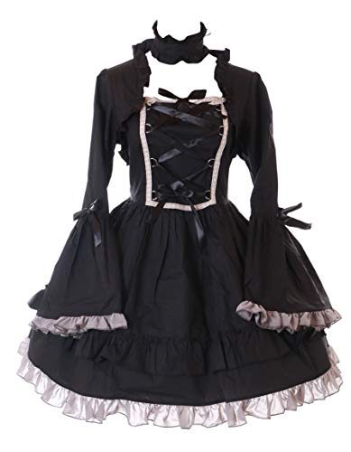 Kawaii-Story JL-647-2 schwarz Langarm Kleid mit Halsband Rüschen Victorian Classic Gothic Lolita Kostüm Dress Cosplay (S)