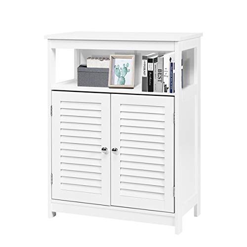 GLACER Bathroom Floor Storage Cabinet, Multifunctional Free Standing Storage Cabinet with Double Shutter Doors and Adjustable Shelf for Bathroom, Living Room, Corridor, 23.5 x 12 x 31.5 inches (White)