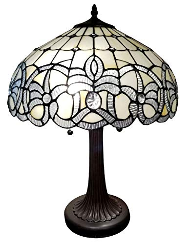 Amora Lighting Tiffany Style Table Lamp Banker 24' Tall Stained Glass White Grey Jeweled Beads Vintage Antique Light Décor Living Room Bedroom Handmade Gift AM293TL16B