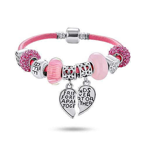 5 Piece Bead Best Friend Sorority Sister BFF Split Heart Theme Multi Charm Bracelet Genuine Pink Leather For Women Teens .925 Sterling Silver European Barrel Clasp 7.5 Inch