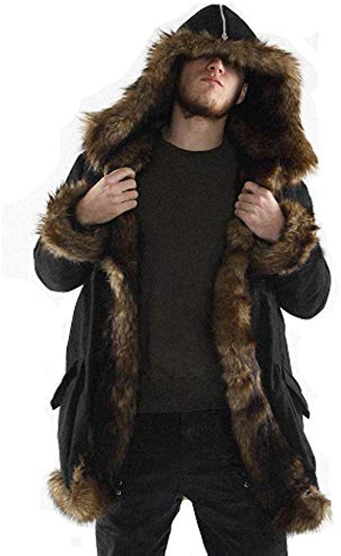 Luckycat Herren Warm Plus Dicker Langer Mantel Hoodie Jacke Faux Fur Parka Outwear Strickjacke Mode 2018