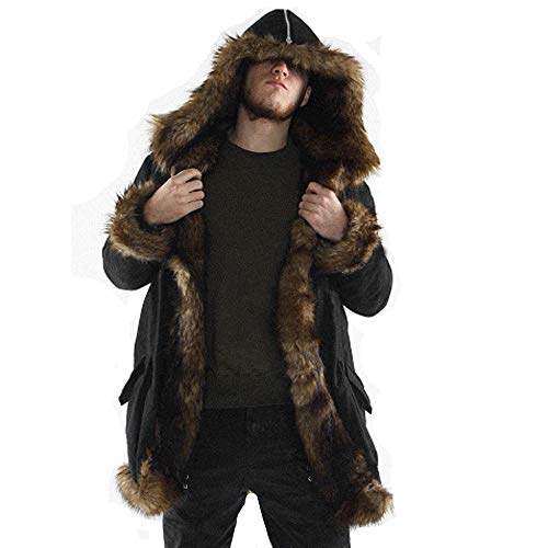 Luckycat Neuer Herren Warm Plus Dicker Langer Mantel Hoodie Jacke Faux Fur Parka Outwear Strickjacke Mode 2018