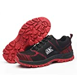 DoGeek Zapato Seguridad Zapatos Trabajo con Punta de Acero Antideslizante, Senderismo Unisex-Adulto Rojo41EU