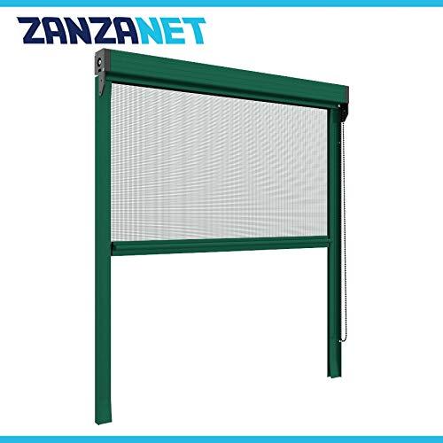 Zanzariera verticale 50 mm per finestre su misura personalizzabile a rullo con catena telaio con profilo robusto e resistente in alluminio Verde