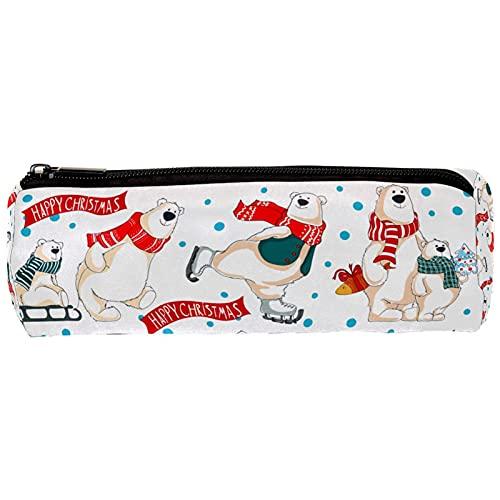 Happy Christmas - Astuccio portapenne con orsetti polari, astuccio portapenne e astuccio da scrivania per trucchi, per scuola e ufficio