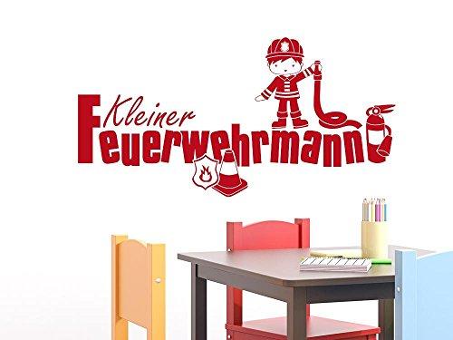 GRAZDesign muurtattoo kinderkamer jongen kleine brandweerman - muursticker plakfolie jong brandweer in gebruik 100x50cm 080, bruin