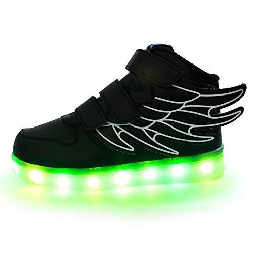 LED - Laufschuhe Schuhe Für Junge/Mädchen, 7 Farben Wechselhaftes Blinken Sport LED Leuchten Chargable Durch USB-Linie. Flamme Und Flügel - Design