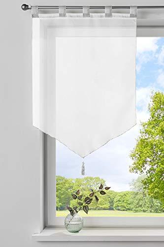 Gardinenbox Scheibengardine »Lyon« Quaste Modern Zeitlos Voile Küchenfenster Sichtschutz HxB 90x60 cm Weiß Scheibenhänger Spitzpanneaux, 10000333