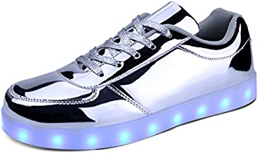 MILEADER Light Up Shoes for Women and Men, Silver Low-top LED Shoes for Adults, USB Charging Flashing Shoes LED Sports Sneakers for Unisex - 37
