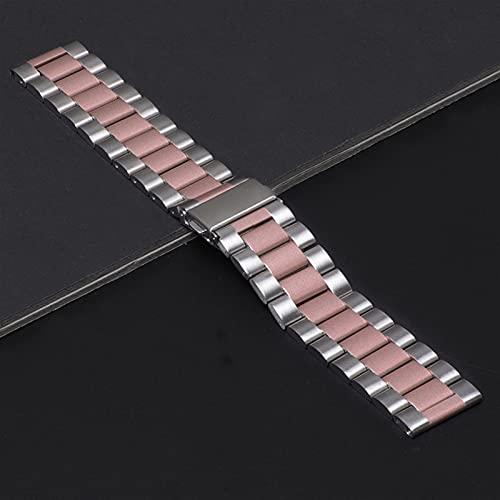 Pulsera Para Reloj Samsung Galaxy 46 Mm 42 Mm Correa De Pulsera De Acero Inoxidable Banda De Metal Para Samsung Gear S3 1033 (Band Color : Silver Pink, Band Width : 20mm)