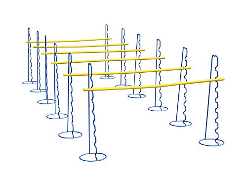 Sechs Koordinationshürden mit neun einstellbaren Höhen bis 63 cm - Hürdentraining