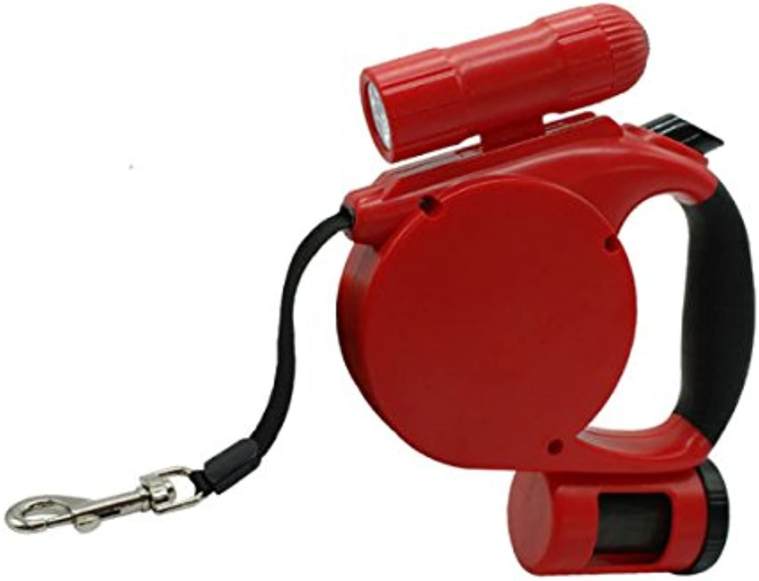 Hangang 3 in 1 Retractable Dog Leash (With LED Light + Bag Dispenser) These Durable Thick & Adjustable 15 Foot Leashes are The Best for Training Walking Jogging Small Medium or Large (red)