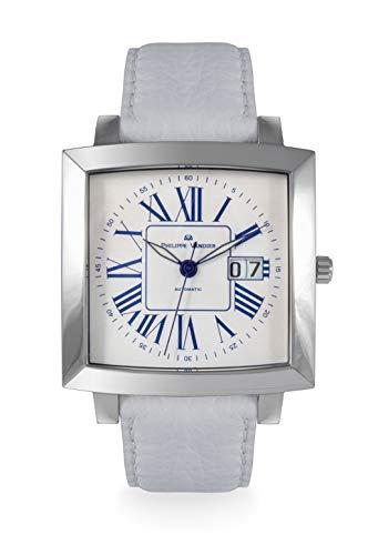 Philippe Vandier Reloj Hombre Swiss Made Montreal Steel Movimiento Automático Suizo Calibre ETA 2896 Correa de Piel y Cristal Mineral en Bisel y Zafiro Fondo de Caja