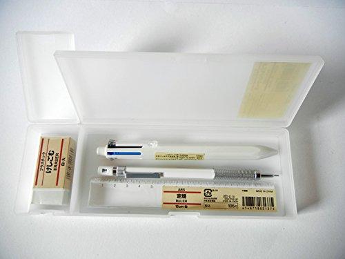 Muji White Color Stationery Set [Case, Mechanical Pencil, 6 colors Ballpoint Pen, Ruler, Eraser] by MUJI by MUJI
