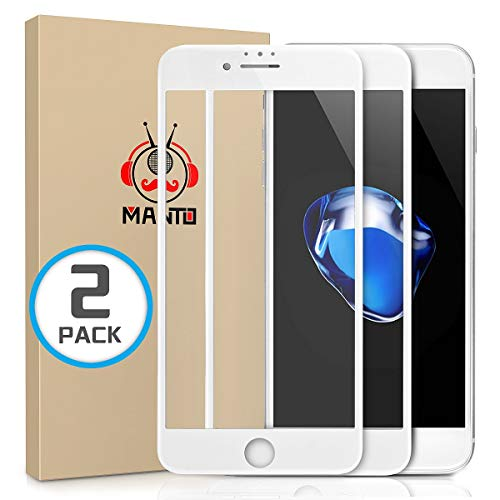 MANTO 2-Pack Screen Protector for iPhone 7 8 6S 6 Full Coverage Tempered Glass Screen Protector Film Edge to Edge Protection Compatible with iPhone 7 iPhone 8 iPhone 6S iPhone 6, 4.7 Inch, White