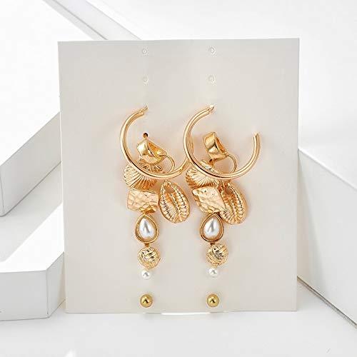 FEARRIN Pendientes Joyas de Moda 16 uds / 8 Pares de Conchas de Perlas geométricas Pendientes de Oro Rosa para Mujerjoyería Pendientes inusuales Oro