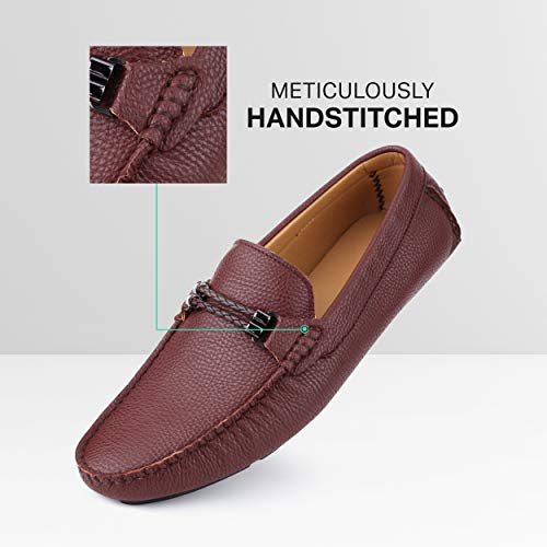 Mio Marino Mens Loafers – Dress Casual Loafers for Men – Slip-on Driving Shoes – in Gift Shoe Bag – Tassle-Chestnut Maple – 12 D(M) US