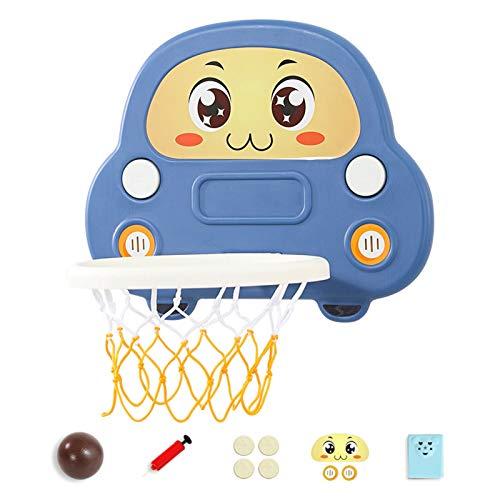 Aro De Baloncesto Colgante Sin Perforaciones, Aro De Baloncesto para Niños Montado En La Pared, Dormitorio Interior, Juguetes De Tiro para Niños,Azul