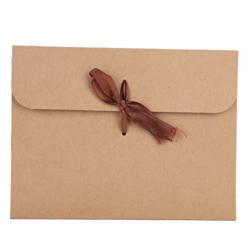 封筒 角形封筒 無地 クラフト封筒 10枚入り レターセット リボン付き おしゃれ ビジネス封筒 大きめ CD/DVD/カード/葉書きホルダー 書類入れ 収納ケース 保存用 紙袋 ギフトバッグ 24*18*0.7cm クラフト