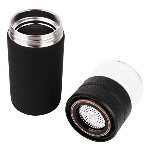 Jeanoko Té y agua separación Thermos Cup Wearable Thermos Cup para hombre para el hogar (negro)