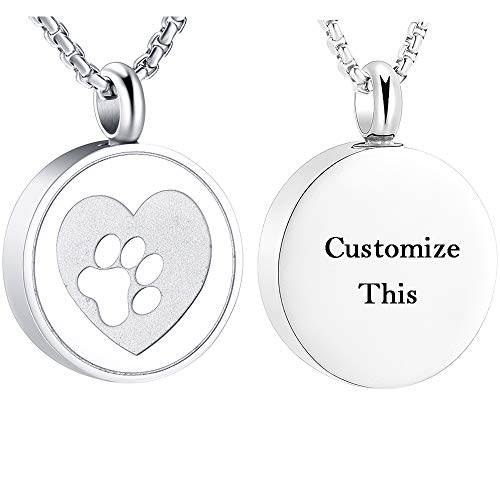EternityMemory Loss of Pet Locket Necklace Hold Crystal Paw Print Heart Stainless Steel Cremation Jewelry for Ashes