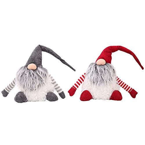 Ofanyia 2 Stücke Handgemachte Gnome Figuren Plüsch Schwedische Tomte Weihnachten Weihnachtsmann Elf Home Desktop Sammeln Puppen Urlaub Party Tisch Ornament