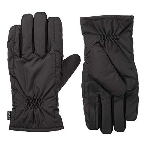 Isotoner - Guantes para hombre con pantalla táctil, doble forro, tecnología repelente al agua, color negro, LG