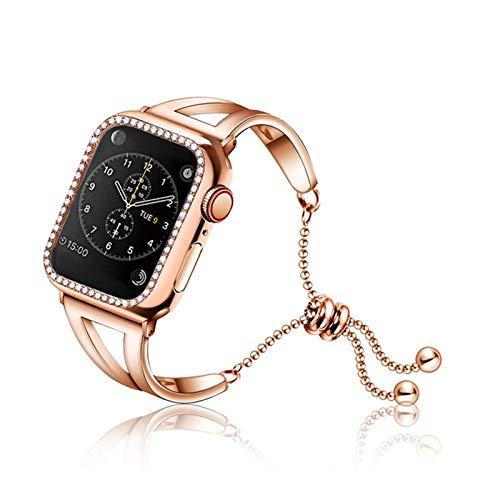 LYDBM Banda de Mujeres para Apple Watch 38mm 42mm 40mm 44mm Correa de Acero Inoxidable de Acero Inoxidable Moda Pulsera Correa iwatch Series 5 4 3 2 1 (Color : Rose Gold Case, Talla : 44mm)