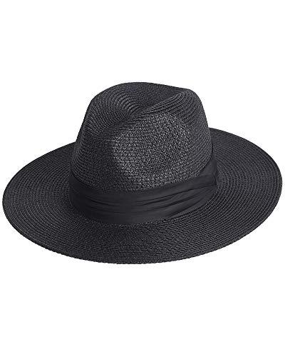 FURTALK Sombrero Panamá de Paja Playa Unisexo, Fedora Plegable con ala Ancha y Cinta UV UPF50+