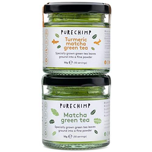 Matcha Tea Powder by PureChimp | Regular/Lemon/Mint/Turmeric 50g Jars [Packs of 2] Duos | Ceremonial Grade from Japan | All Natural & Vegan | Pesticide-Free (1 x Regular & 1 x Turmeric)